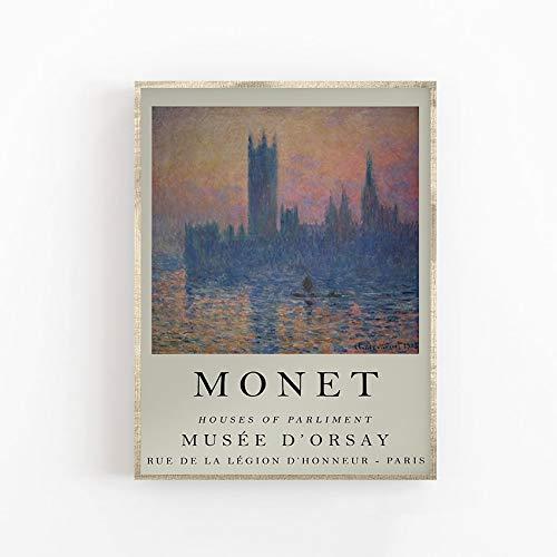 Cartel de la exposición de Monet, casas del parlamento de Londres, arte de calidad de galería, floral, jardín, arte de pared, lienzo sin marco, Y 70x100cm