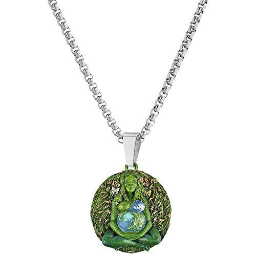 Collar de estatua de la madre tierra, collar con colgante de madre tierra Gaia, collar de estatua de la madre de la Tierra, regalo para mujer verde