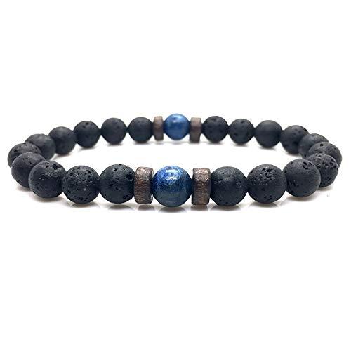 Mannen armband Natural Maansteen Bead Tibetaanse Buddha Bracelet chakra Lava Stone Diffuser Armbanden Heren Sieraden gift Drop Shipping (Metal Color : 2)