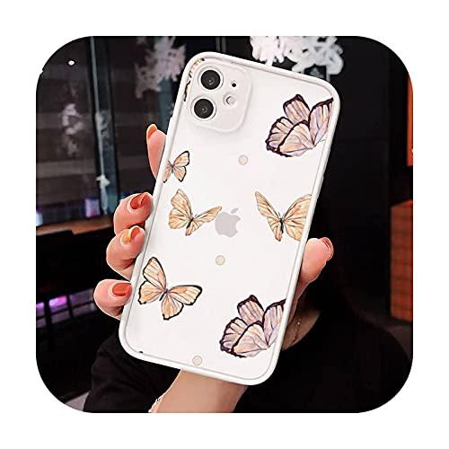 lindo sexy mariposa rosa azul teléfono Fundas mate transparente para iPhone 12 Mini 11 Pro XR XS Max 7 8 Plus X contraporta-a8-iPhoneXs max