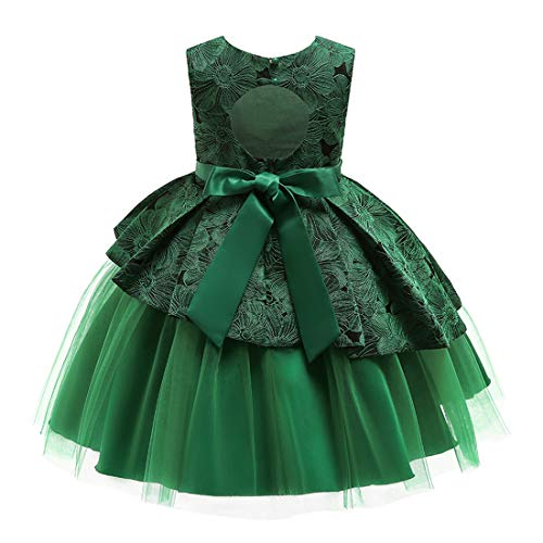 Lace Flower Girl Pageant Holiday Dress Girls Elegant Tulle Backless Wedding Princess Ball Gown Sleeveless Party Dresses Special Occasion Dresses Age 9-10 Year (Green, 150)