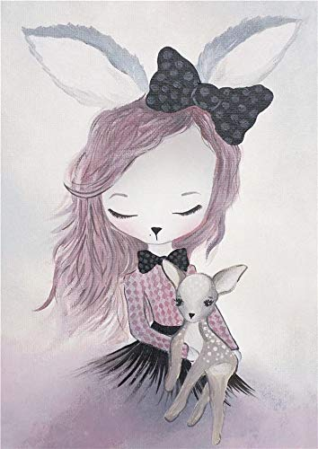 JHGJHK Warm and sweet home decoration rabbit girl oil painting girl bedroom decoration painting (Picture 3)