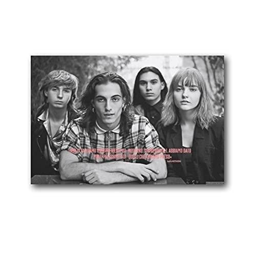 Rap-rock - Póster retro de la banda Maneskin, vocalista principal Damiano David, bajista Victoria D 'Angelis, guitarrista Thomas Raggi y baterista Ethan Torchio Pintura sobre lienzo de 50 x 75