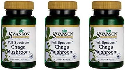 Swanson Full Spectrum Chaga Mushroom Antioxidant Immune Support 400 Milligrams 60 Capsules 2 Pack