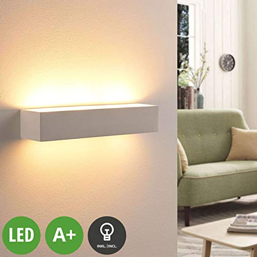 Lindby LED Wandleuchte, Wandlampe Innen 'Arya' dimmbar (Modern) in Weiß aus Gips/Ton u.a. für Wohnzimmer & Esszimmer (2 flammig, G9, A+, inkl. Leuchtmittel) - Wandstrahler, Wandbeleuchtung