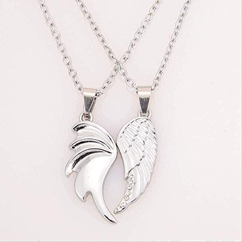 LBBYMX Co.,ltd Necklace Fashion Lovers Angel Wing Pendant Silver Plated Wing Pendant Necklace Jewelry Couple Couple Simulation Necklaces
