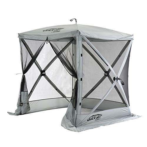 Quick-Set 15222 Traveler 6 Foot Portable Outdoor Gazebo Canopy Shelter Screen Tent for Picnics & Tailgating, Gray