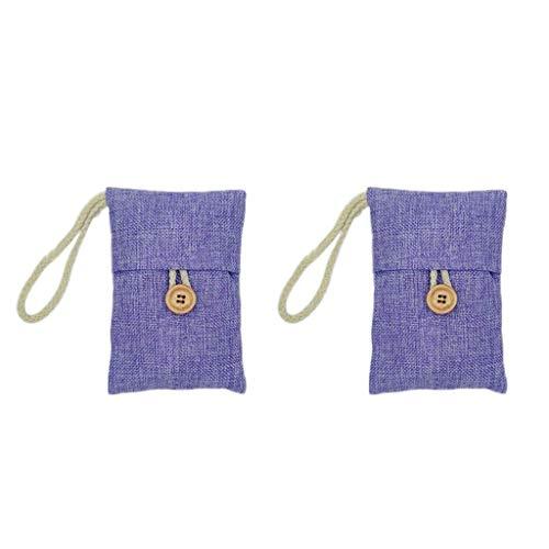 Ackful2 Pcs Bag Car Bamboo Charcoal Activated Carbon Air Freshener Odor Deodorant (Purple)