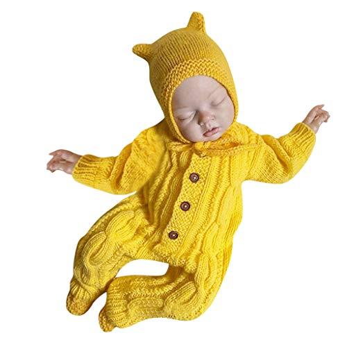 Overol de bebé Vincent & Septiembre de Punto de Crochet para recién Nacido, bebés y niñas de 3 a 18 Meses, Amarillo, 0-6 Meses