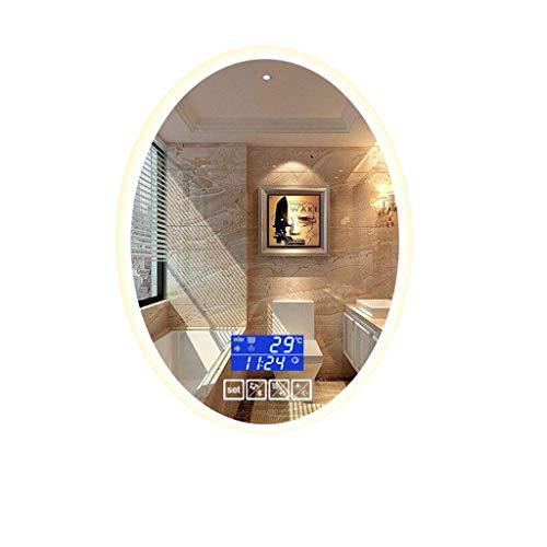 Badkamerspiegel LED badkamerspiegel HD met touch-functie, bluetooth tijd/temperatuur, anti-condens-geschikt voor slaapkamer, badkamer make-up spiegel