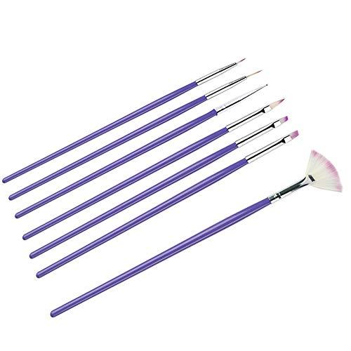 7PCS Set de pinceaux Nail Art Nail Art Design Stylo Peinture Dotting Brush Gel UV Acrylique Nail Art Brush Set Conseils Nail Art Builder Brush Outils de manucure (Violet)