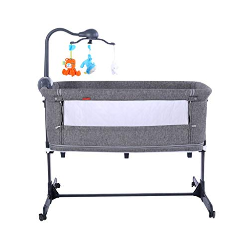 Best Prices! 2 in1 Travel Crib Portable Folding Crib Alloy Game 0-24 Months with Music Rotate Ligh...