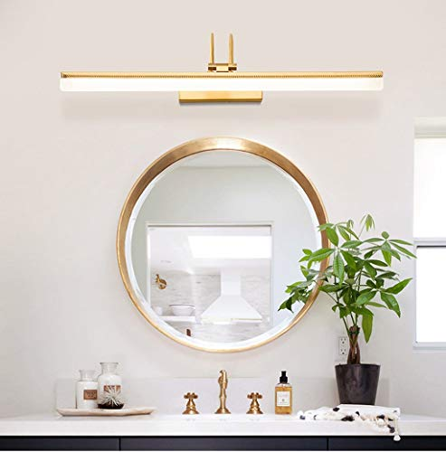 Spiegellamp voor badkamer, spiegellamp van Amerikaans Scandinavisch koper, modern en minimalistisch, spiegelkast met LED, badkamer, wastafel, make-uplamp, spiegellamp met LED (kleur: warm licht 11 W 54 cm)