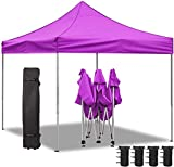 Homall 10X10 Ft Pop Up Canopy Ez Up Canopy Tent Commercial Instant Shelter Patio Sun Shade Canopies with Roller Bag, 4 Canopy Sand Bags (Purple)