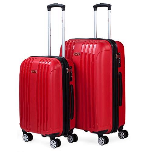 ITACA - Juego de 2 Maletas de Viaje rígidas con Ruedas Dobles de Polipropileno con Cerradura TSA, Ligeras y s, tamaño Cabina y Mediana 760215, Color Rojo