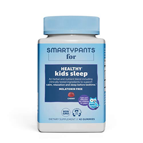 SmartyPants Kids Sleep Gummies: Melatonin FREE; Magnesium for Nervous System Support; L-Theanine for Relaxation; Saffron for Sleep Support, Chamomile & Lemon Balm, Cherry flavor, 42 Ct (21 Day Supply)