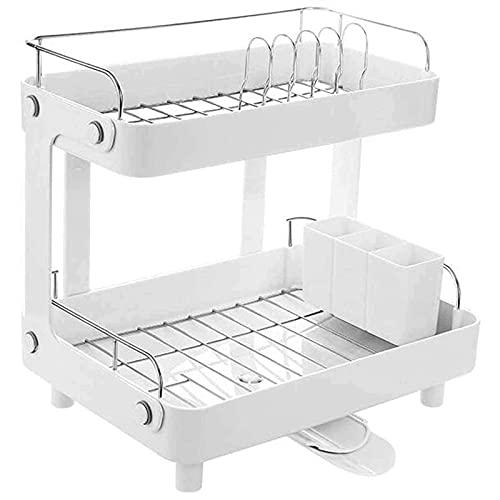 ZLQBHJ Soporte de utensilio de cubos y cubos de pared, bastidor de escurridor de organizador de cubiertos con tablero de drenaje, almacenamiento de cubiertos para estanque de platos de cocina, ahorro