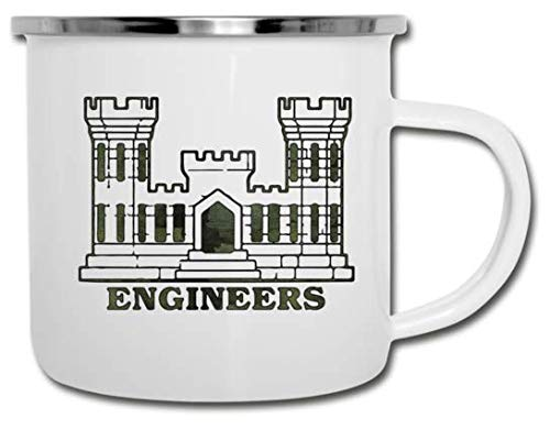 Army Combat Engineer Coffee Mug | Vintage White Enamel Coat Rolled Steel Camping Mug | Camo Corp of Engineers Castle | Perfect for Indoor and Outdoor Use