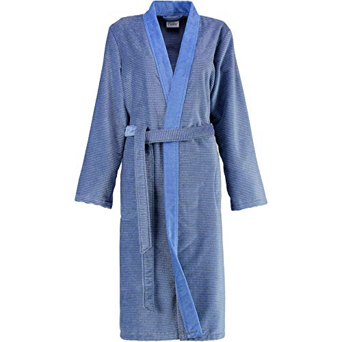 Michaelax-Fashion-Trade Cawö - Damen Bademantel in Kimono-Form (6431), Größe:36, Farbe:Blau (17)