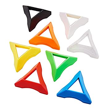 PH PandaHall 32pcs 8 Colors Plastic Triangle Speed Magic Cubes Base Holder Frame Accessories Puzzle Cube Organize