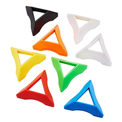 PandaHall Elite 32pcs 8 Colores Plástico Velocidad Mágica Cubos Base Soporte Marco Accesorios de Marco de Aprendizaje Temprano Juguetes Juegos Regalos