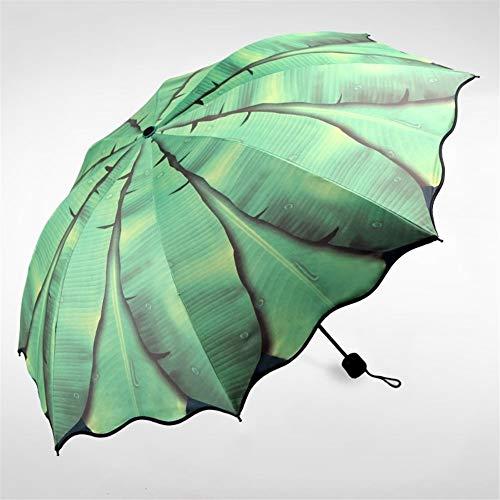 女性の雨の傘折りたたみ傘女性日焼け止めの女性の日傘の女の子エレガントなアンチUVアート傘の贈り物 (Color : Green)