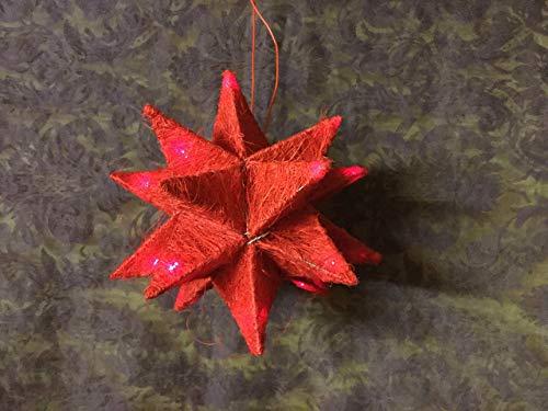 Stern in rotem Sisal mit Beleuchtung und Batterie