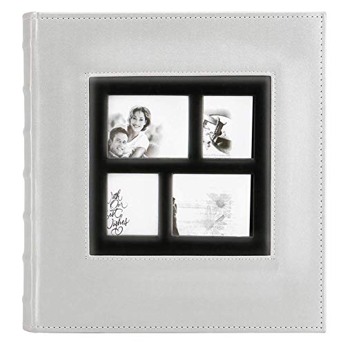 Artmag Photo Album 4x6 600 Photos, Large Capacity Wedding Family Leather Cover Picture Albums Holds 600 Horizontal and Vertical 4x6 Photos with Black Pages (Silver)