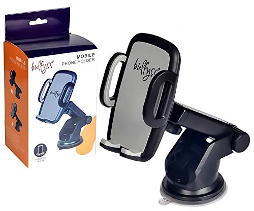 Bulfyss Universal Telescopic Car Mount Mobile Phone Holder Stand for Dashboard Windshield – All Smartphones [360 Degree Rotating] [Elongated Neck] [Strong Suction] – Black