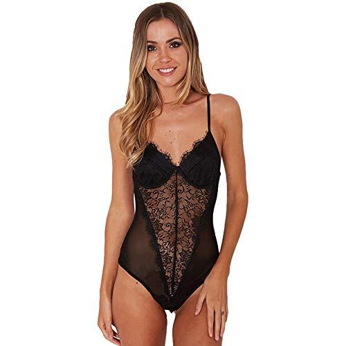 JJHR Bodysuit Backless Lace Mesh Bodysuit Perspektive Dünne Fransen Overall Strampler Frauen Sommer Playsuits Overalls, M