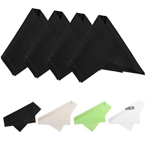 TopFiber microvezel reinigingsdoekjes - voor alle LCD-schermen, tabletten, lenzen en andere delicate oppervlakken(2 stuks), 6 x 6 inch(4pcs) + 12 x 12 inch(4pcs)
