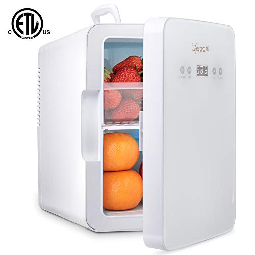AstroAI Mini Kühlschrank 6 Liter Kühlschrank - mit Temperaturregelung - AC / 12V DC Tragbarer thermoelektrischer Kühler und Wärmer für Schlafzimmer, Kosmetik, Muttermilch, Haushalt und Reisen