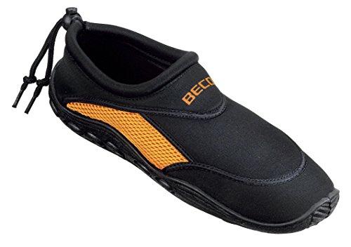 BECO Badeschuhe / Surfschuhe für Damen und Herren schwarz/orange 42