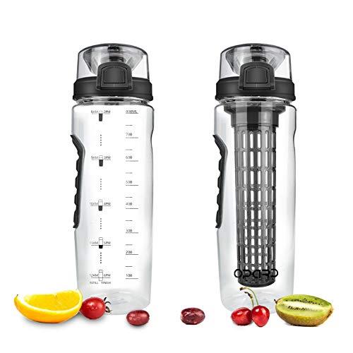 Opard Trinkflasche 900 ml - Wasserflasche mit fruchteinsatz - Auslaufsicher Sportflasche - Water Bottle BPA Frei aus Tritan - Flasche für Kinder,Sport,Fitness,Fußball,Fahrrad,Outdoor (Schwarz)