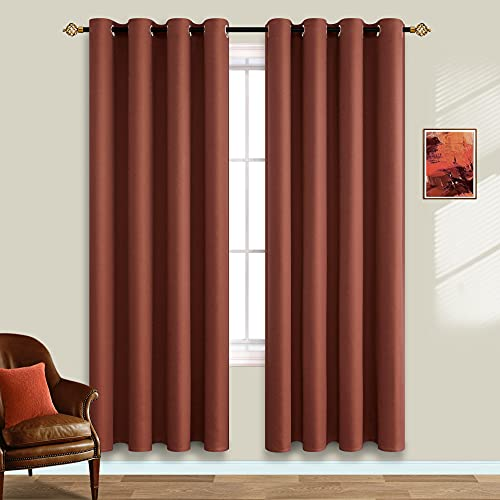 Rust Blackout Curtains 84 Inch Length for Bedroom Set of 2 Curtain Panels Summer Heat Light Blocking Curtains for Living Room Terracotta Burnt Orange