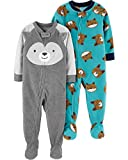 Carter's Baby Boys 2-Pack Loose Fit Fleece Footed Pajamas, Dog Face/Blue Bears, 12 Months