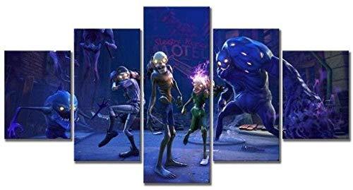 5 piezas cuadro en lienzo Cuadro compuesto por 5 lienzos impresos en HD, utilizados para decoración del hogar y carteles Juego de disparos de zombies Fortnite (150x80cm sin marco)