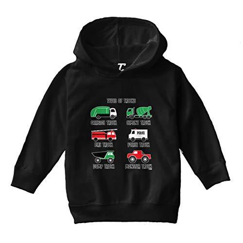 Types of Trucks - Garbage Monster Fire Toddler/Youth Fleece Hoodie (Black, 4T (Toddler))