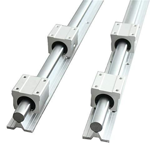 CHENSHUAI Juego de 2 barras de guía lineal SBR10 SBR12 SBR16 SBR20, cualquier longitud con 4 bloques de rodamientos lineales para pieza de router CNC (color: SBR20, longitud de la guía: 1300 mm)