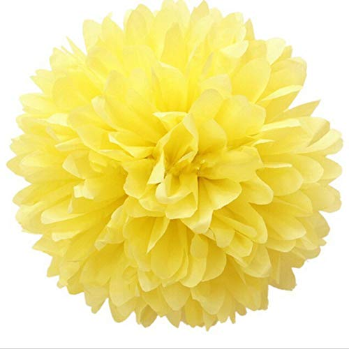 JZK 10 x Pompoms Pompons, 25cm Durchmesser, Seidenpapier Blume Dekoration für Wohnzimmer Hochzeit Geburtstag Babyparty Kinder Party Weihnachten Silvester, gelb