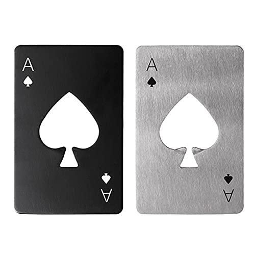 2PCS Apribottiglie Poker, Portable Beer Soda Bottle Opener, apribottiglie in acciaio inossidabile, cavatappi divertenti adatto per dimensioni portafoglio