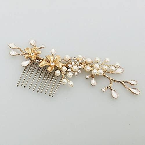 Peineta para el pelo de boda, diseño de ramas doradas, con flores,...