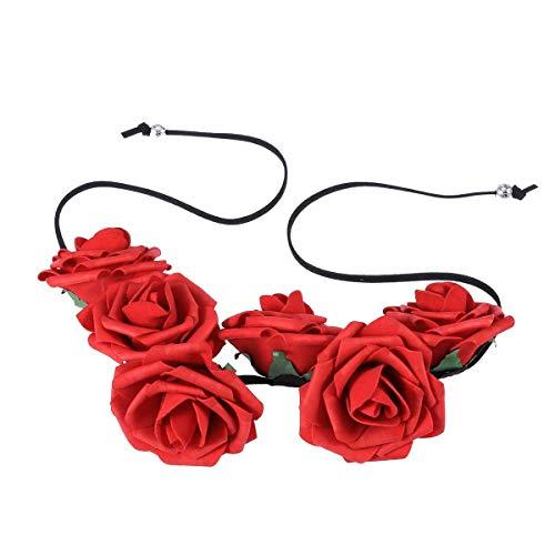 Lurrose Diadema floral de espuma rosa nupcial diadema tocado corona corona pelo corona corona con cuerda para fiesta fiesta boda (rojo)