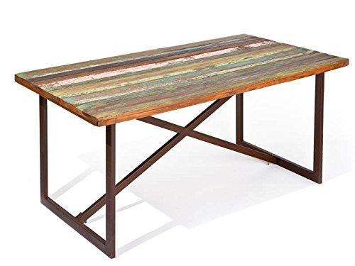 Inter Link 85300400 Unikat Esstisch Küchentisch shabby chic Metalltisch rostig bunt Recycling Holz
