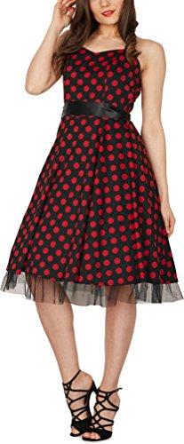 Black Butterfly 'Rhya' Vintage Polka-Dots Kleid im 50er-Jahre-Stil (Schwarz – Rote Punkte, EUR 38 – S) - 3