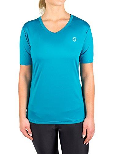 Gregster T-Shirt de Sport/Fonctionnel à col en V pour Femme Convient pour la Course à Pied XS Bleu - Bleu