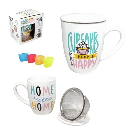 Pack» 2 Tazas Para Té Con Filtro y Tapa (350 ml) Con Asa, Para Infusiones, Café, Desayuno + Posa Bolsitas de Té(Cupcake + Home)
