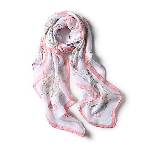 AJON Frauen Seidenschal Ultra Dünn Soft Fresh Beach Wrap Schals Orchideen Druck Sonnenschutz Schal Für Strand Urlaub Hochzeit,Pink