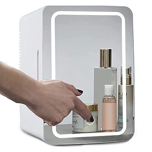 Zxqiang Mini Refrigerador De Belleza Maquillaje De 8L, Refrigerador De Cosméticos Portátil con Espejo De Maquillaje con Luz Led, 12V/220V para Oficina,Automóvil
