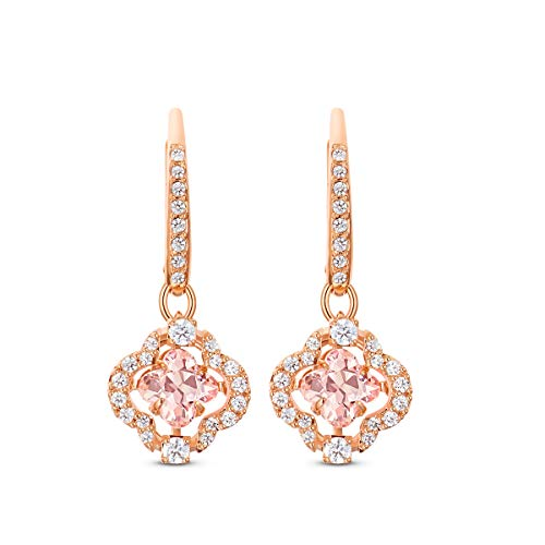 Swarovski Women's Sparkling Dance Clover Earrings, Pair of Pierced Earrings with White and Pink Crystals, Rose-Gold Tone Plated